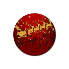 Santa Christmas Claus Winter Rubber Round Coaster (4 Pack)