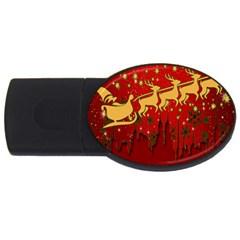Santa Christmas Claus Winter Usb Flash Drive Oval (2 Gb)