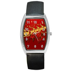 Santa Christmas Claus Winter Barrel Style Metal Watch