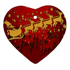 Santa Christmas Claus Winter Heart Ornament (two Sides)