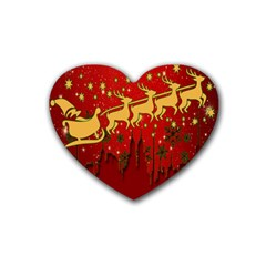 Santa Christmas Claus Winter Rubber Coaster (Heart)
