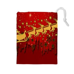 Santa Christmas Claus Winter Drawstring Pouches (large)