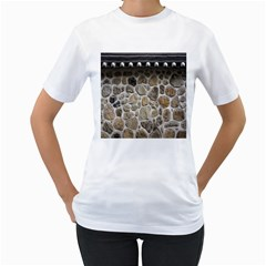 Roof Tile Damme Wall Stone Women s T Shirt (white) (two Sided)