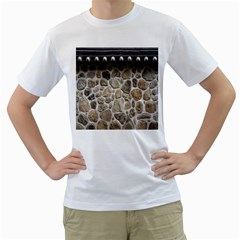 Roof Tile Damme Wall Stone Men s T-Shirt (White) (Two Sided)