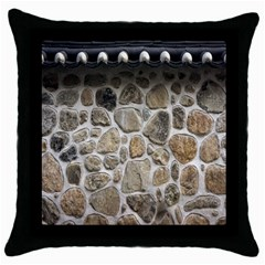 Roof Tile Damme Wall Stone Throw Pillow Case (Black)