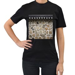 Roof Tile Damme Wall Stone Women s T Shirt (black) (two Sided)
