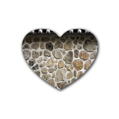 Roof Tile Damme Wall Stone Rubber Coaster (heart)
