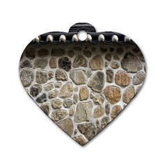 Roof Tile Damme Wall Stone Dog Tag Heart (Two Sides)
