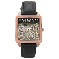 Roof Tile Damme Wall Stone Rose Gold Leather Watch