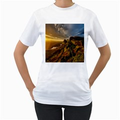 Scotland Landscape Scenic Mountains Women s T-Shirt (White) (Two Sided)