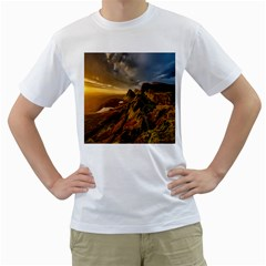 Scotland Landscape Scenic Mountains Men s T-Shirt (White) (Two Sided)