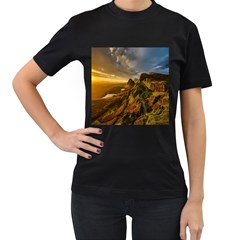 Scotland Landscape Scenic Mountains Women s T Shirt (black) (two Sided)