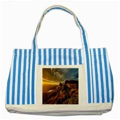 Scotland Landscape Scenic Mountains Striped Blue Tote Bag