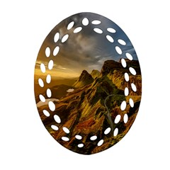 Scotland Landscape Scenic Mountains Oval Filigree Ornament (two Sides)