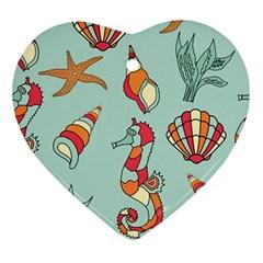 Seahorse Seashell Starfish Shell Ornament (Heart)