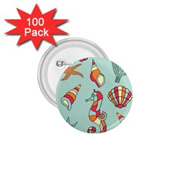 Seahorse Seashell Starfish Shell 1 75  Buttons (100 Pack)