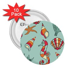 Seahorse Seashell Starfish Shell 2.25  Buttons (10 pack)
