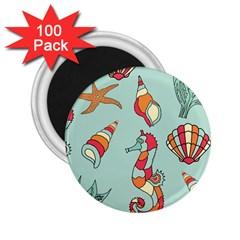 Seahorse Seashell Starfish Shell 2 25  Magnets (100 Pack)