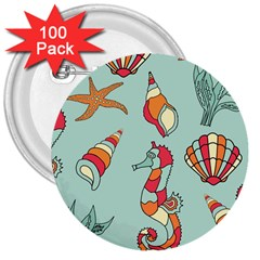 Seahorse Seashell Starfish Shell 3  Buttons (100 pack)