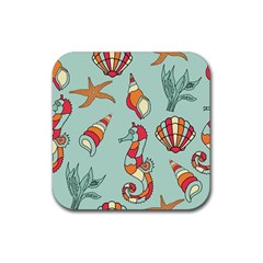 Seahorse Seashell Starfish Shell Rubber Square Coaster (4 pack)