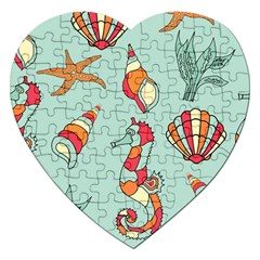 Seahorse Seashell Starfish Shell Jigsaw Puzzle (Heart)