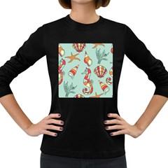 Seahorse Seashell Starfish Shell Women s Long Sleeve Dark T-Shirts