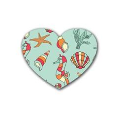 Seahorse Seashell Starfish Shell Rubber Coaster (heart)