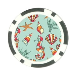 Seahorse Seashell Starfish Shell Poker Chip Card Guard