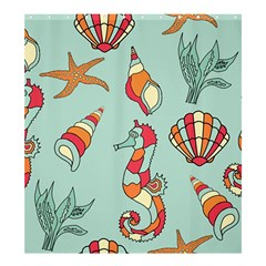 Seahorse Seashell Starfish Shell Shower Curtain 66  X 72  (large)