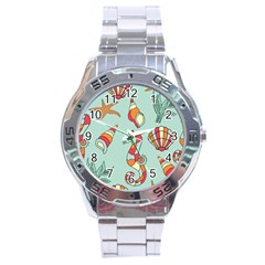 Seahorse Seashell Starfish Shell Stainless Steel Analogue Watch