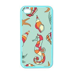 Seahorse Seashell Starfish Shell Apple Iphone 4 Case (color)