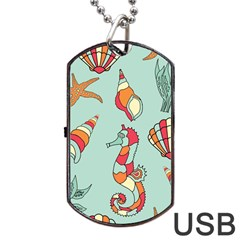Seahorse Seashell Starfish Shell Dog Tag USB Flash (Two Sides)