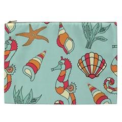 Seahorse Seashell Starfish Shell Cosmetic Bag (xxl)