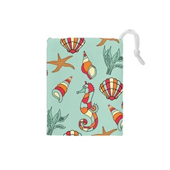 Seahorse Seashell Starfish Shell Drawstring Pouches (small)