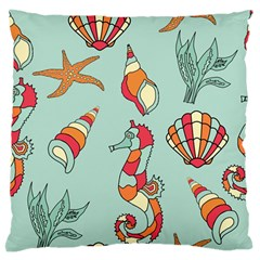 Seahorse Seashell Starfish Shell Large Flano Cushion Case (two Sides)