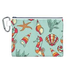 Seahorse Seashell Starfish Shell Canvas Cosmetic Bag (l)