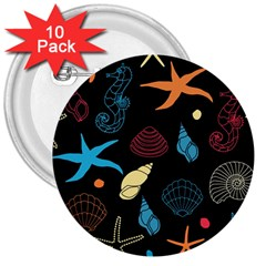 Seahorse Starfish Seashell Shell 3  Buttons (10 Pack)