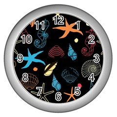 Seahorse Starfish Seashell Shell Wall Clocks (Silver)