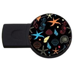 Seahorse Starfish Seashell Shell USB Flash Drive Round (2 GB)