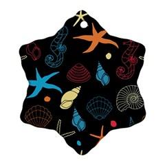 Seahorse Starfish Seashell Shell Snowflake Ornament (two Sides)