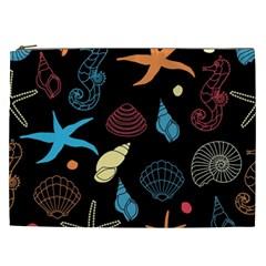 Seahorse Starfish Seashell Shell Cosmetic Bag (XXL)