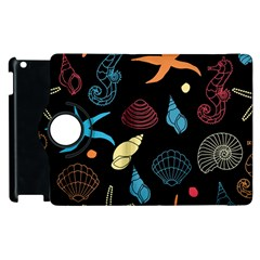 Seahorse Starfish Seashell Shell Apple iPad 2 Flip 360 Case