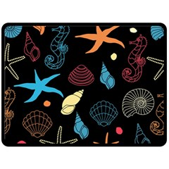 Seahorse Starfish Seashell Shell Double Sided Fleece Blanket (Large)