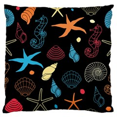 Seahorse Starfish Seashell Shell Large Flano Cushion Case (two Sides)