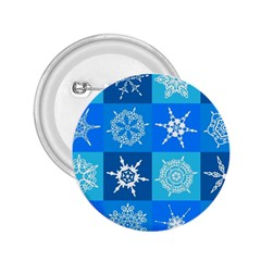 Seamless Blue Snowflake Pattern 2 25  Buttons
