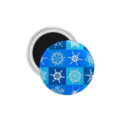 Seamless Blue Snowflake Pattern 1 75  Magnets