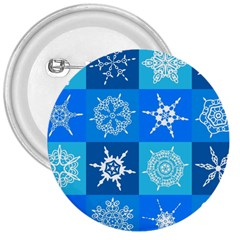 Seamless Blue Snowflake Pattern 3  Buttons