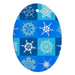 Seamless Blue Snowflake Pattern Ornament (oval)