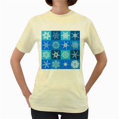 Seamless Blue Snowflake Pattern Women s Yellow T-Shirt