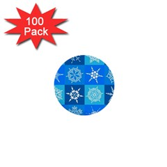 Seamless Blue Snowflake Pattern 1  Mini Buttons (100 Pack)